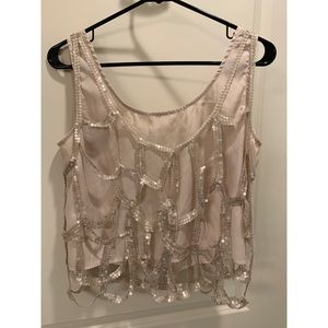 Lush Tops - Crop top tank-top with sequence netting overlay